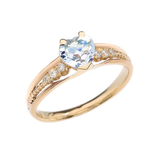 Diamond And Aquamarine Heart Yellow Gold Beaded Proposal Ring