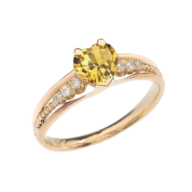 Diamond And Citrine Heart Yellow Gold Beaded Proposal Ring