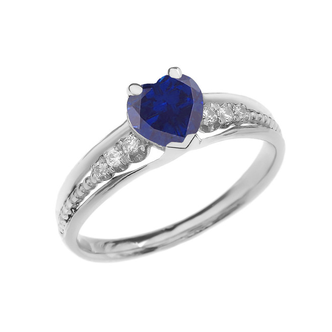 Diamond And (LCS) September Birthstone Sapphire  Heart White Gold Beaded Proposal Ring