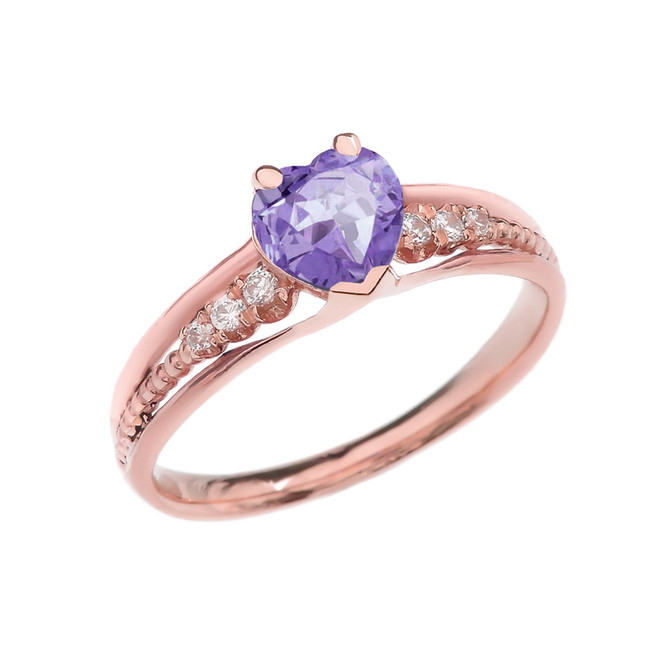 Diamond And June Birthstone (LCA) Alexandrite Heart Rose Gold Beaded Proposal Ring