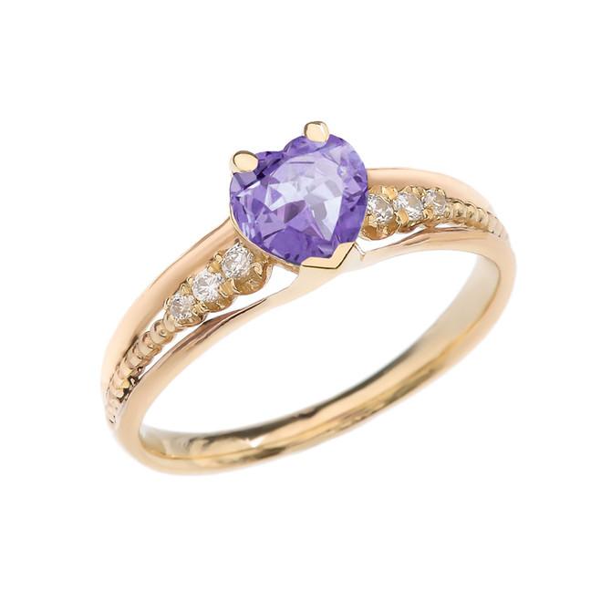 Diamond And June Birthstone (LCA) Alexandrit Heart Yellow Gold Beaded Proposal Ring