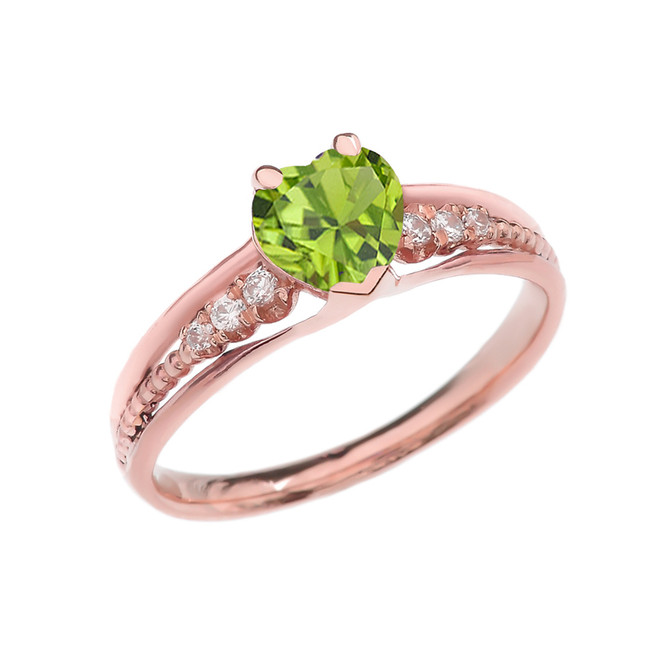Diamond And Peridot Heart Rose Gold Beaded Proposal Ring