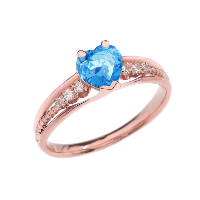 Diamond And Blue Topaz Heart Rose Gold Beaded Proposal Ring