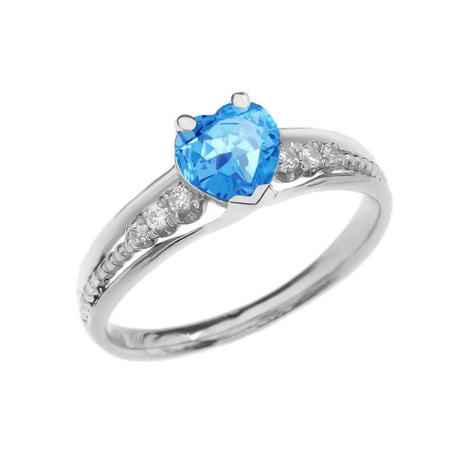 Diamond And Blue Topaz Heart White Gold Beaded Proposal Ring