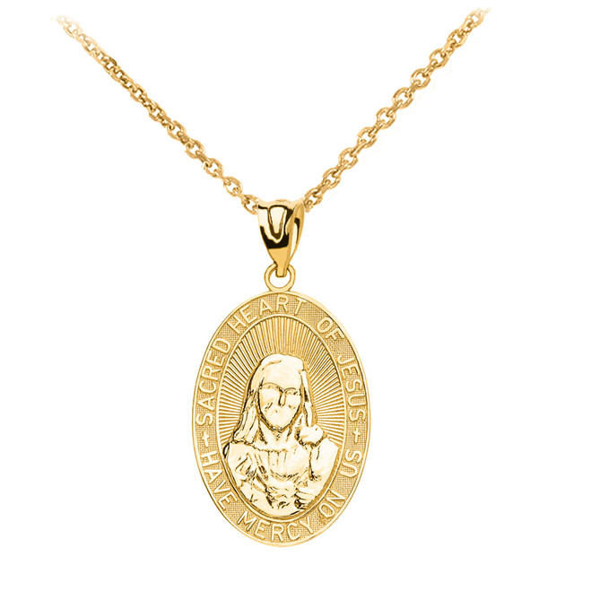 Yellow Gold Medium Sacred Heart Of Jesus Pendant Necklace