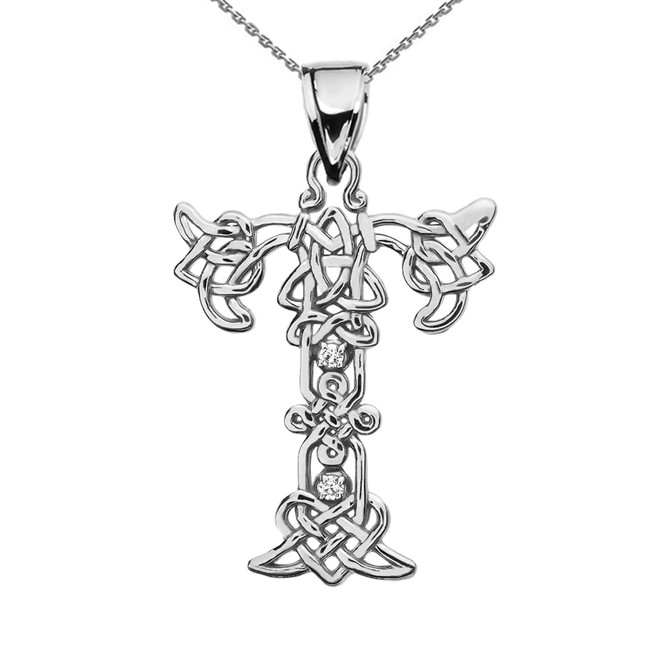"""T"" Initial In Celtic Knot Pattern White Gold Pendant Necklace With Diamond"