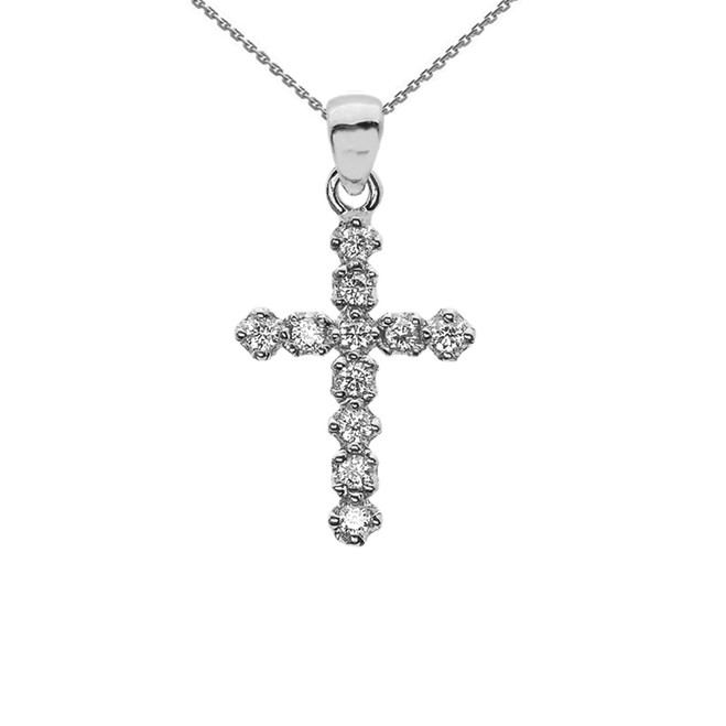 High Polish Reversible Diamond Cross Elegant White Gold Pendant Necklace