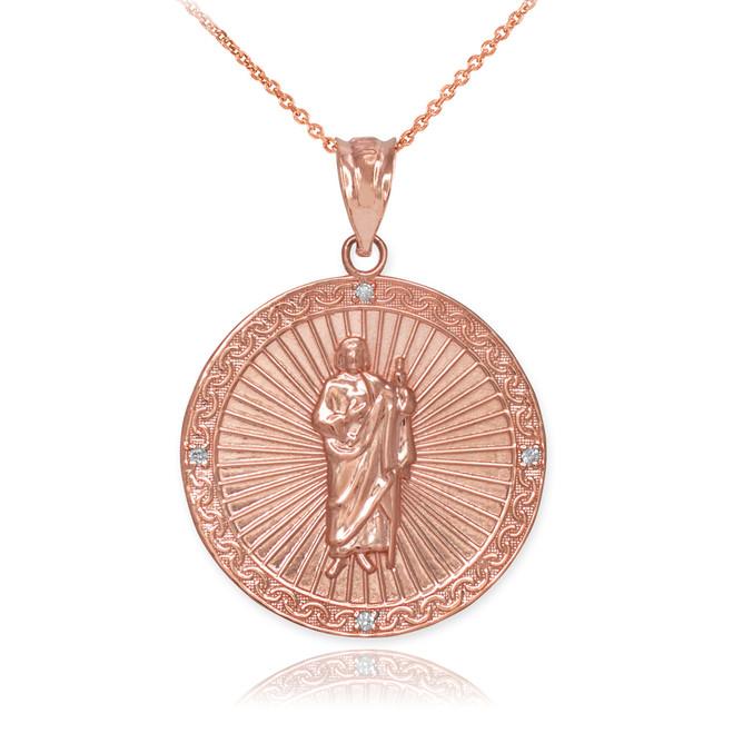 Rose Gold St Jude Diamond Medal Pendant Necklace