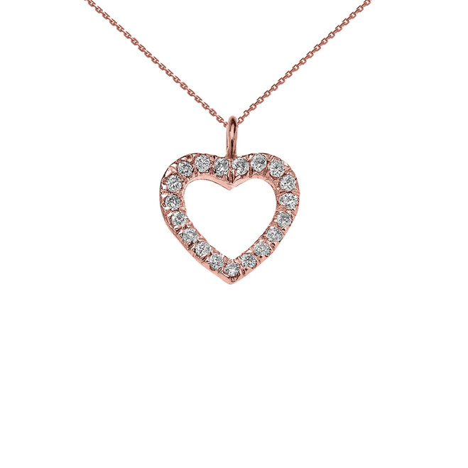 Reversible Diamond and High Polish Plain Open Heart Rose Gold Charm Dainty Pendant Necklace