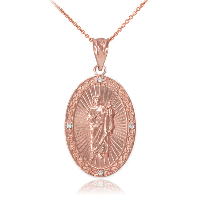 Rose Gold St Jude Diamond Oval Medium Pendant Necklace