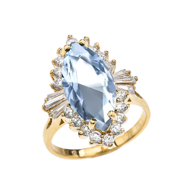4 Ct Aquamarine CZ March Birthstone Ballerina Yellow Gold Proposal Ring