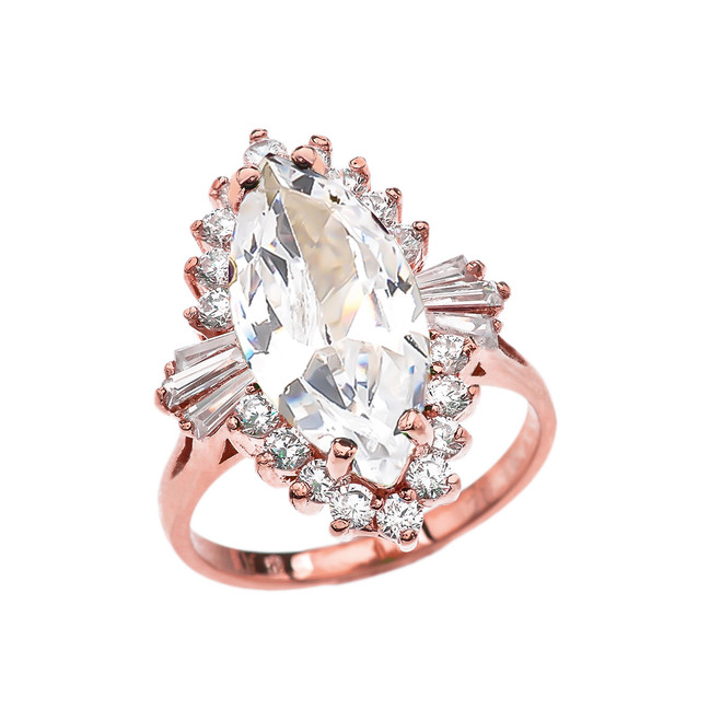 4 Ct CZ April Birthstone Ballerina Rose Gold Proposal Ring