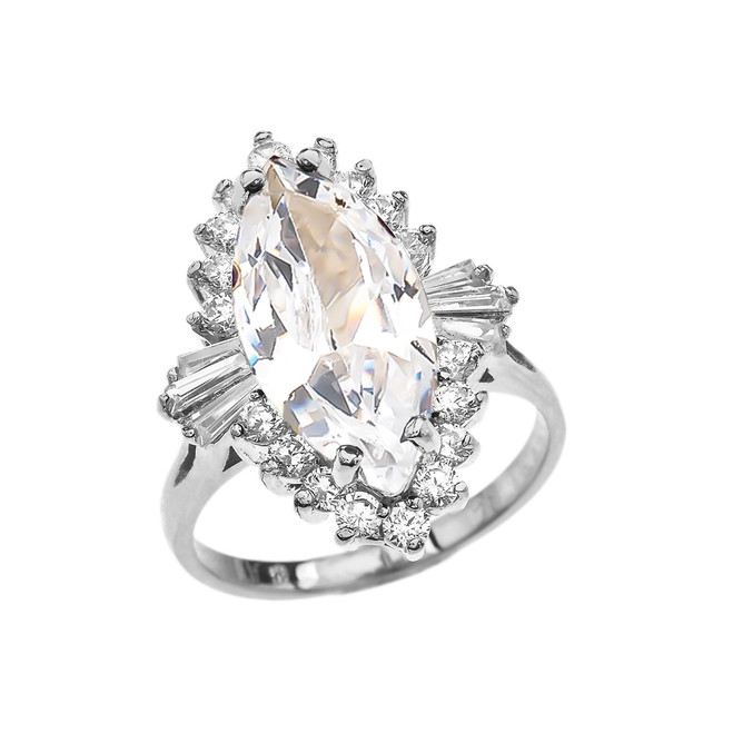 4 Ct CZ April Birthstone Ballerina White Gold Proposal Ring