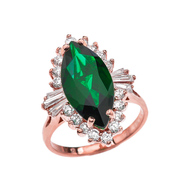 4 Ct CZ Emerald May Birthstone Ballerina Rose Gold Proposal Ring