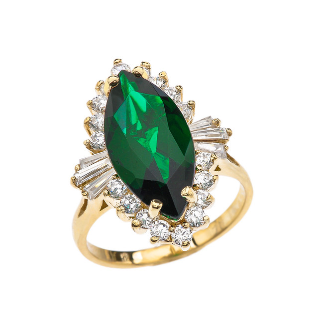 4 Ct CZ Emerald May Birthstone Ballerina Yellow Gold Proposal Ring
