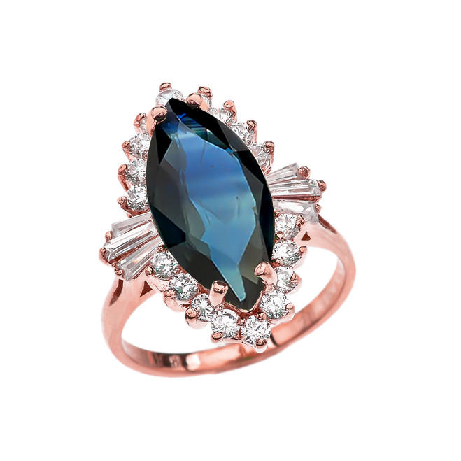 4 Ct CZ Sapphire September Birthstone Ballerina Rose Gold Proposal Ring