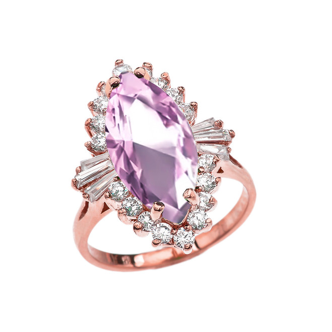 4 Ct CZ Pink October Birthstone Ballerina Rose Gold Proposal Ring