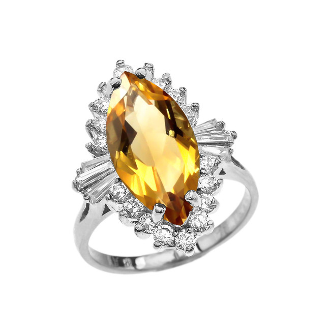 4 Ct CZ Citrine November Birthstone Ballerina White Gold Proposal Ring