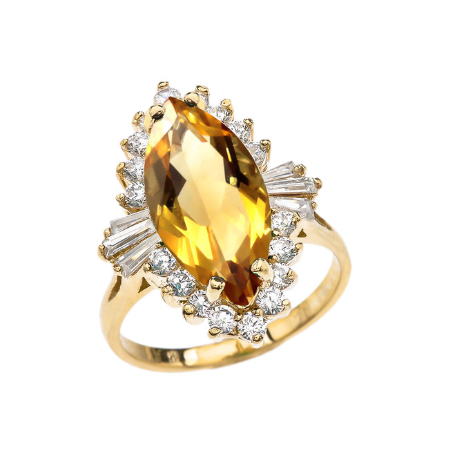 4 Ct CZ Citrine November Birthstone Ballerina Yellow Gold Proposal Ring