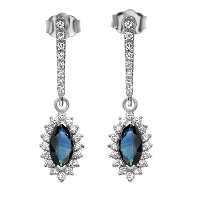 Diamond And Sapphire White Gold Elegant Earrings
