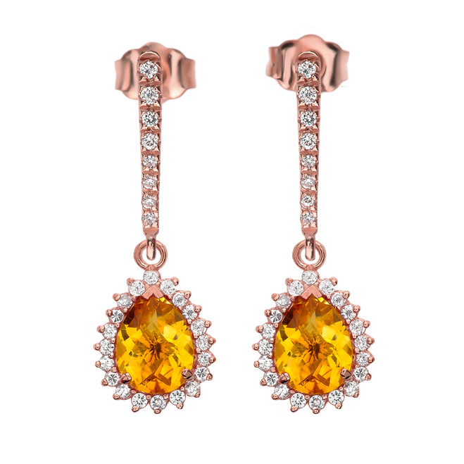 Diamond And Checkerboard Citrine Rose Gold Elegant Earrings