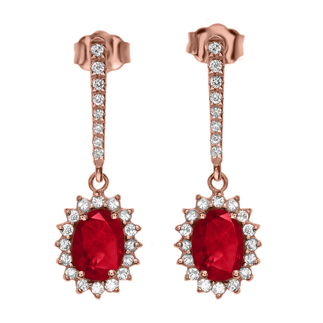 Diamond And July Birthstone Ruby Rose Gold Elegant Earrings