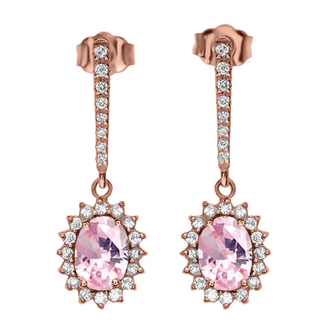 Diamond And October Birthstone Pink CZ Rose Gold Elegant Earrings