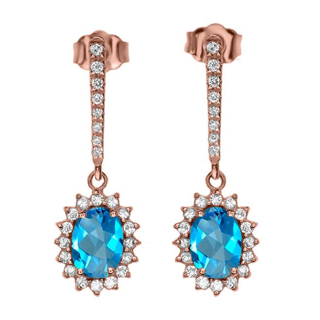 Diamond And Blue Topaz Rose Gold Elegant Earrings