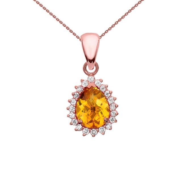 Diamond And Checkerboard Citrine Rose Gold Elegant Pendant Necklace