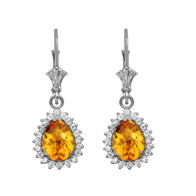Diamond And Checkerboard Citrine White Gold Dangling Earrings