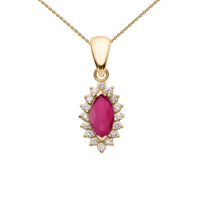 Diamond And Ruby Yellow Gold Elegant Pendant Necklace