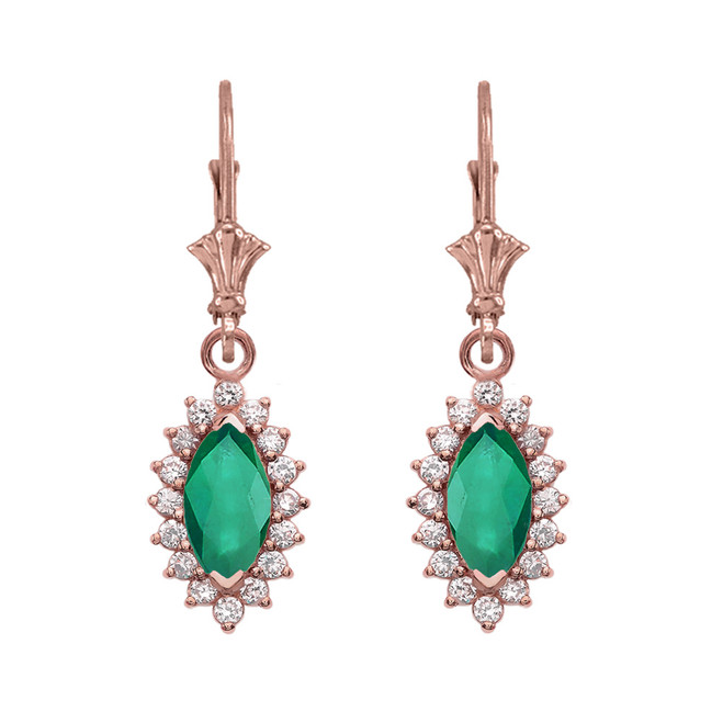 Diamond And May Birthstone Rose Gold Dangling Earrings