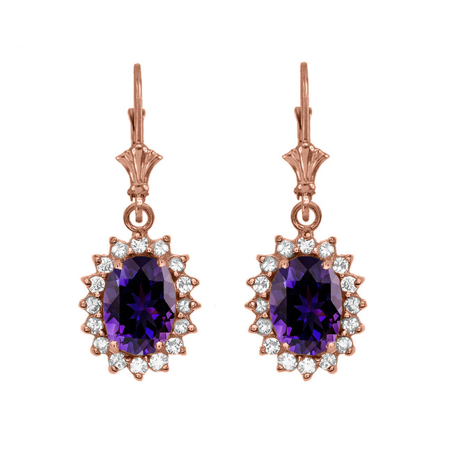 Diamond And Amethyst Rose Gold Dangling Earrings