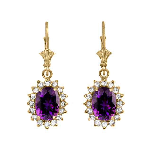 Diamond And Amethyst Yellow Gold Dangling Earrings