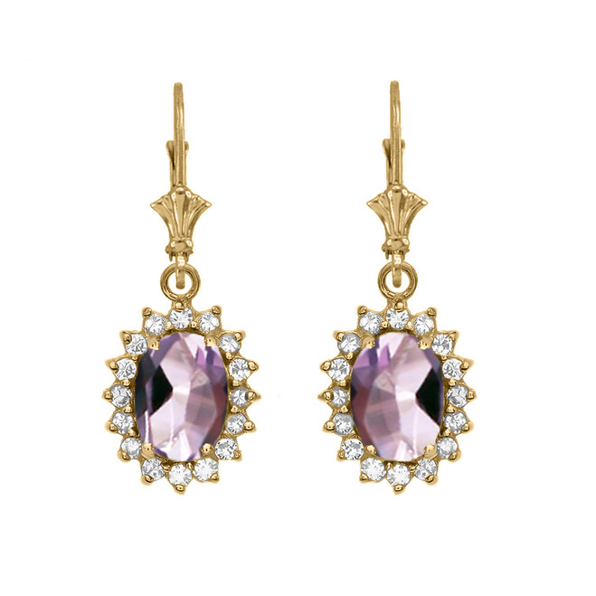 Diamond And June Birthstone CZ Alexandrite Yellow Gold Dangling Earrings
