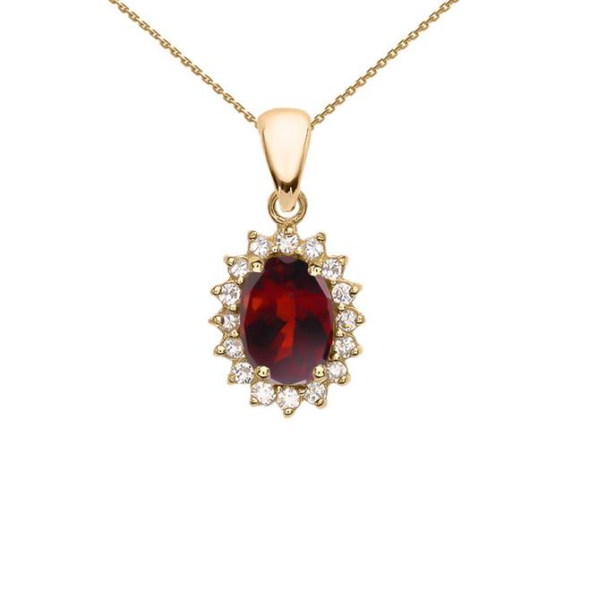 Diamond And Garnet Yellow Gold Elegant Pendant Necklace