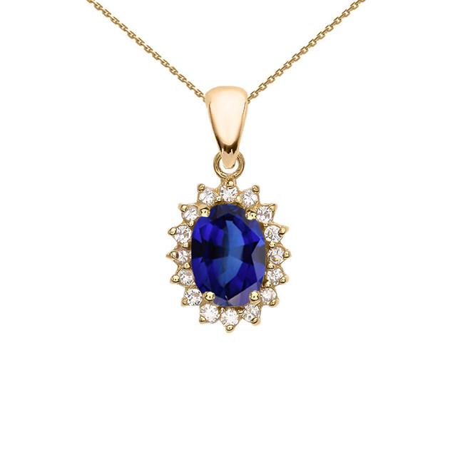 Diamond And September Birthstone Sapphire Yellow Gold Elegant Pendant Necklace