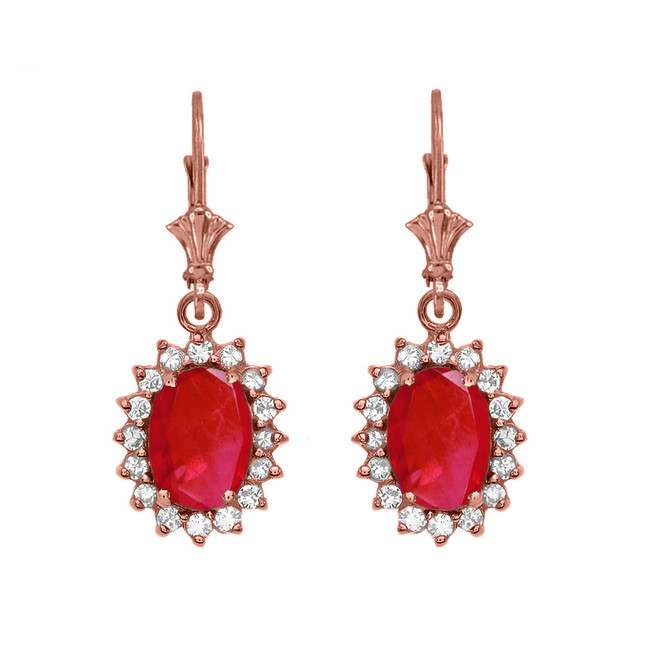 Diamond And July Birthstone Ruby Rose Gold Dangling Earrings