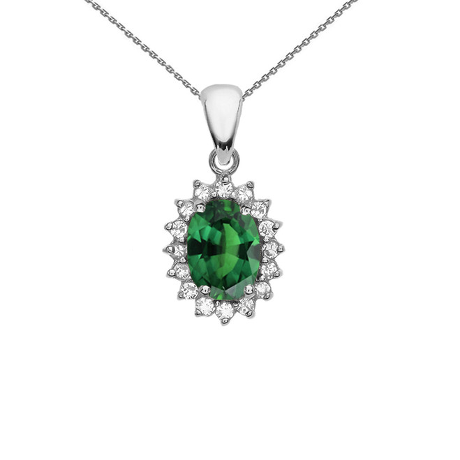Diamond And May Birthstone (LCE) Emerald White Gold Elegant Pendant Necklace
