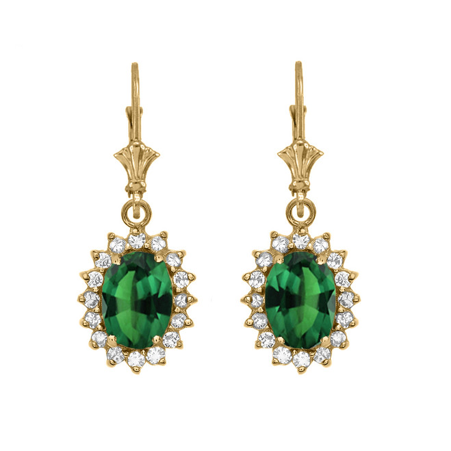 Diamond And May Birthstone (LCE) Emerald Yellow Gold Dangling Earrings