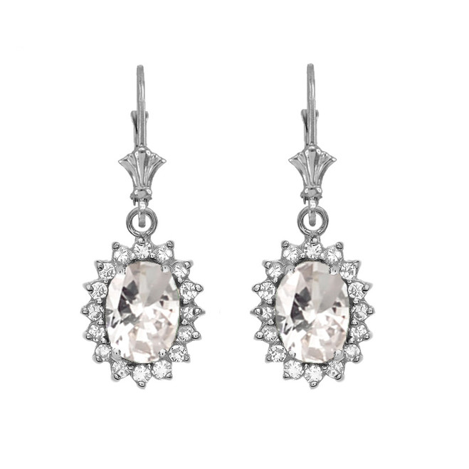 Diamond And April Birthstone CZ White Gold Dangling Earrings