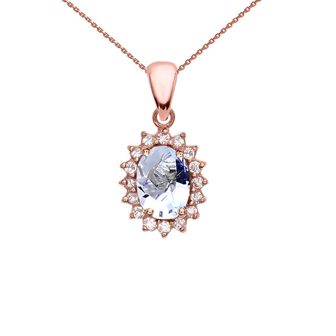 Diamond And March Birthstone Aquamarine Rose Gold Elegant Pendant Necklace