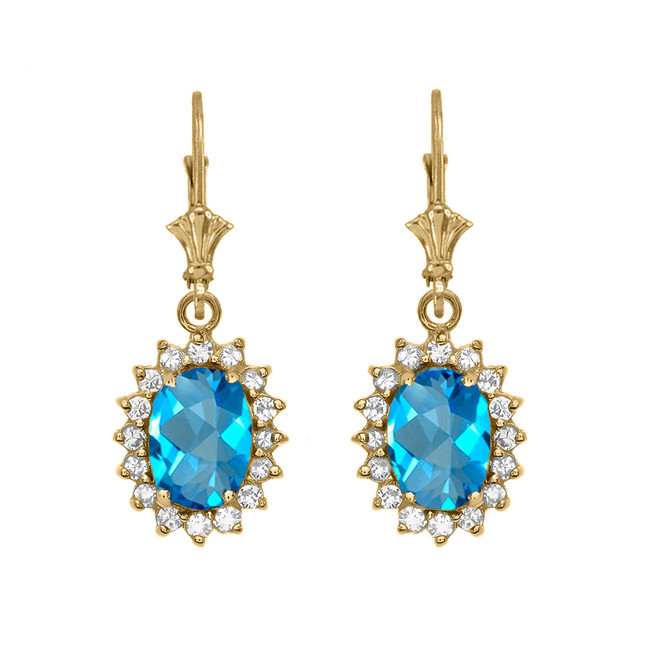 Diamond And Blue Topaz Yellow Gold Dangling Earrings