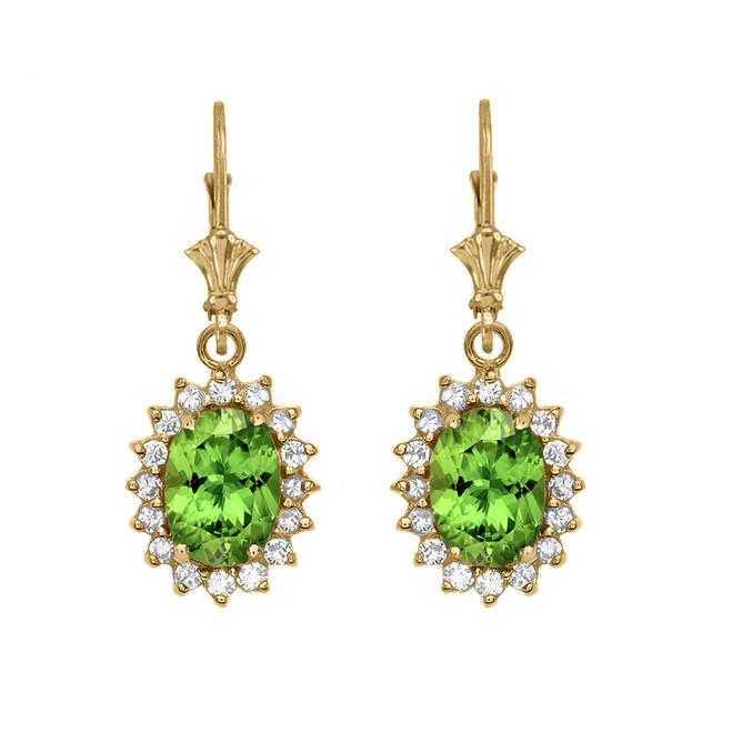 Diamond And Peridot Yellow Gold Dangling Earrings