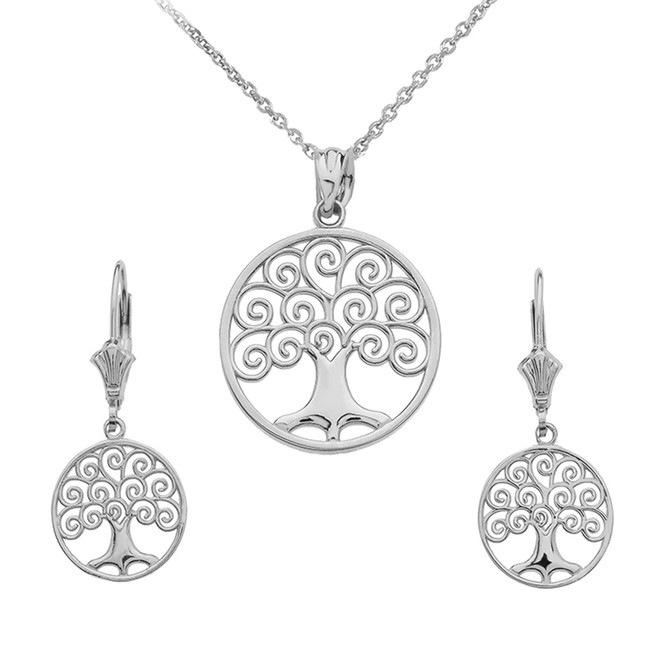 14K White Gold Polished Tree of Life Openwork Necklace Earring Set
