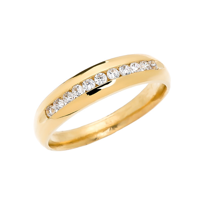 Diamond Channel-Set Yellow Gold Men's Wedding Ring