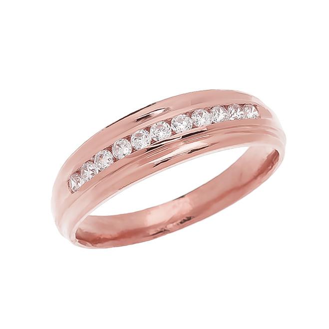 Channel-Set Diamond Rose Gold Men's Wedding Ring
