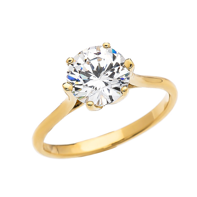 3 Carat CZ Engagement and Proposal Solitaire Yellow Gold Ring