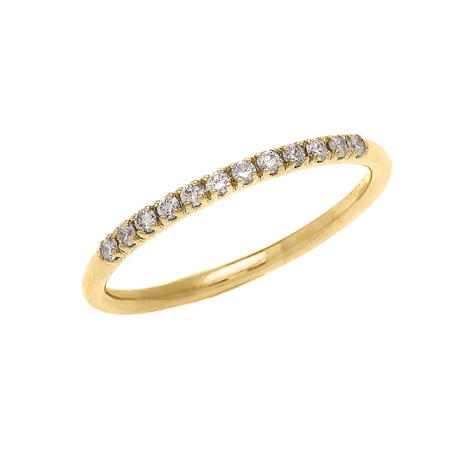 Diamond Stackable Yellow Gold Wedding Band