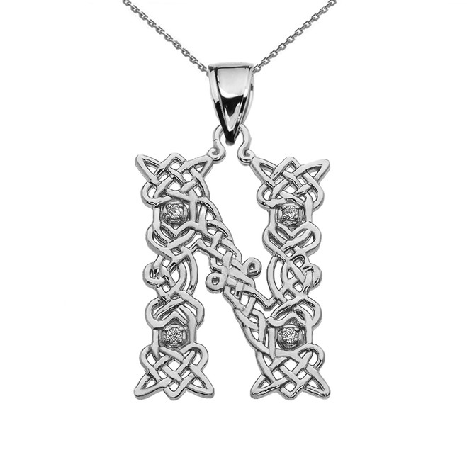 """N"" Initial In Celtic Knot Pattern White Gold Pendant Necklace With Diamond"
